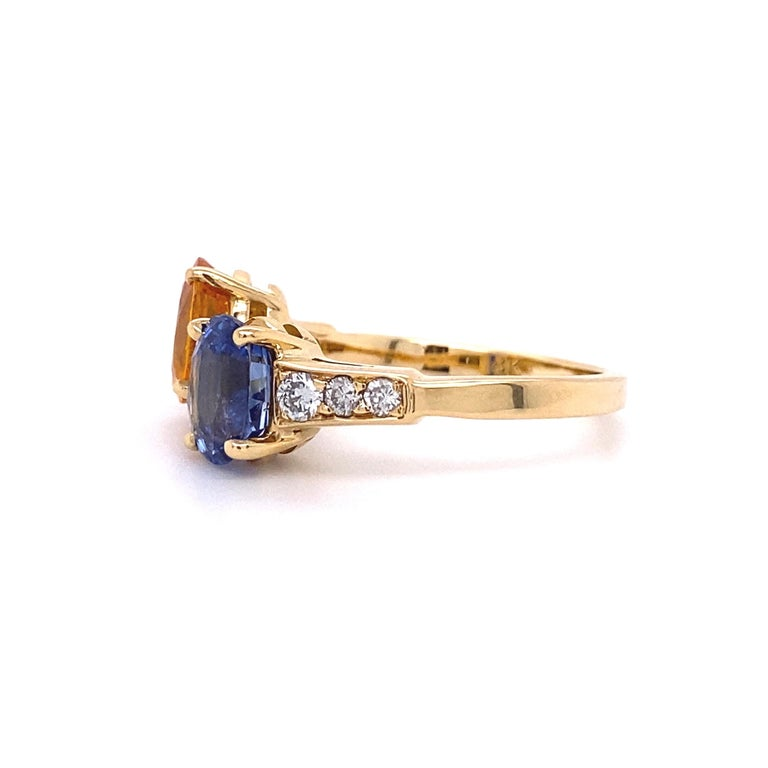 Blue and Yellow Sapphire Diamond Toi et Moi Gold Bypass Ring Estate Fine Jewelry For Sale 2