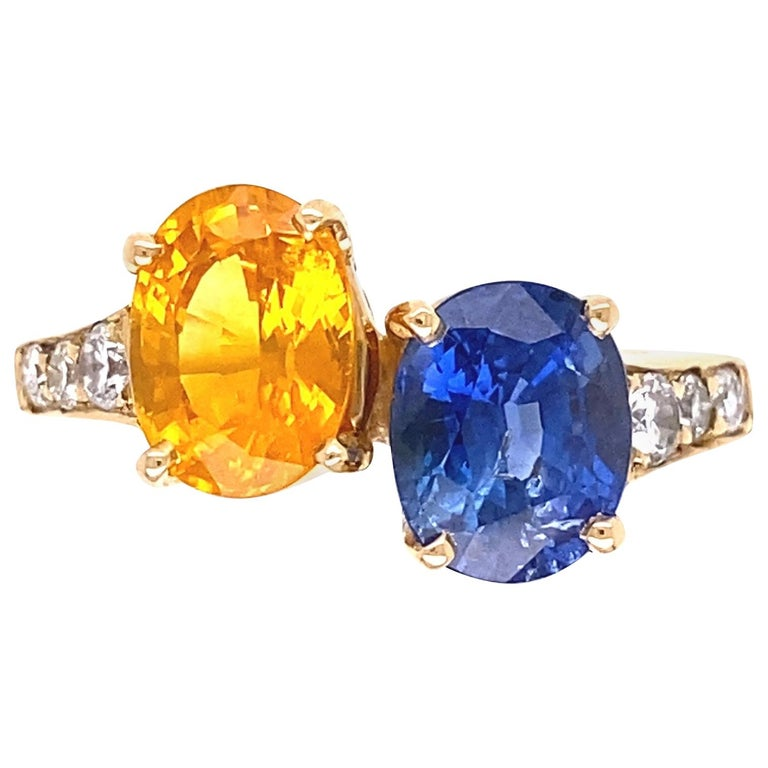 Blue and Yellow Sapphire Diamond Toi et Moi Gold Bypass Ring Estate Fine Jewelry For Sale