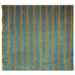 Blue and Yellow Striped Velvet Textile French Napoleon III, circa 1870s