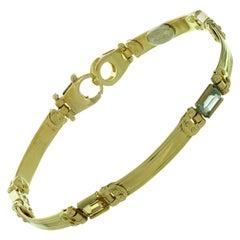 Blue and Yellow Topaz Stones Italian Yellow Gold Bracelet