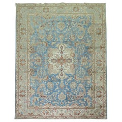 Blue Animal Pictorial Antique Persian Tabriz Room Size Rug