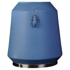 blue Ant Jar  by Estudio Guerrero, Glazed Ceramic and White Metal