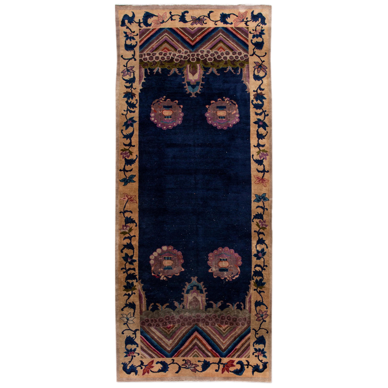 Blue Antique Art Deco Chinese Handmade Wool Rug