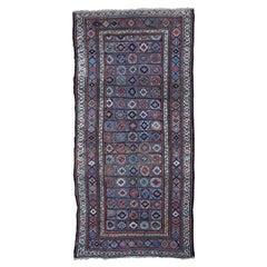 Blue Antique Caucasian Kazak Even Wear Wide Runner Hand Knotted Oriental Rug
