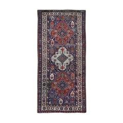 Blue Antique Caucasian Kazak Exc Con Hand Knotted Wide Runner Oriental Rug