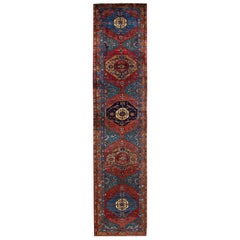 Blue Antique Heriz Handmade Wool Runner
