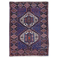 Blue Antique Persian Afshar Even Wear Hand Knotted Oriental Rug
