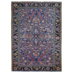 Blue Antique Persian Heriz Worn Pile Pure Wool Hand Knotted Oriental Rug