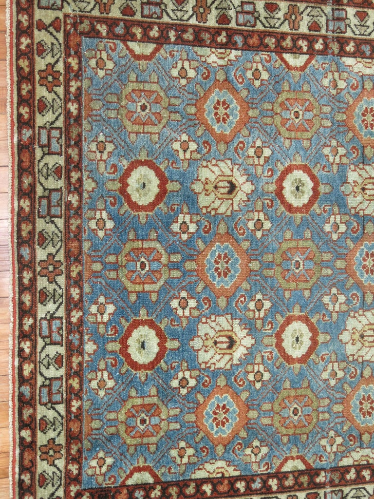 Country Blue Antique Persian Malayer Rug For Sale