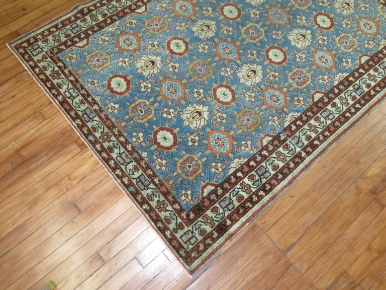 Hand-Knotted Blue Antique Persian Malayer Rug For Sale