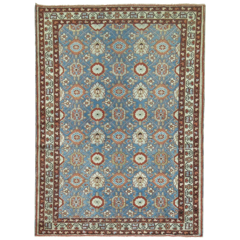 Blue Antique Persian Malayer Rug For Sale