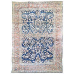 Blue Antique Persian Mohojaren Sarouk Full Soft Pile Abrush Hand Knotted
