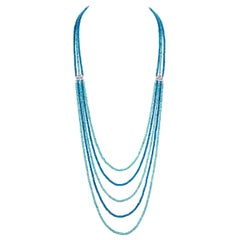 Blue Apatite and Diamond Multi-Strand Necklace in 14 Karat White Gold