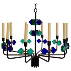 Blue Aqua Marine Glass and Iron Chandelier by Svend Aage Holm Sorensen, Denmark