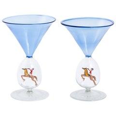 Blue Art Deco Glasses by Bimini, circa 1920