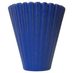 Blue Art Deco Style Pottery Vase by Einar Johansen, 1960s