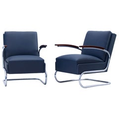 Blue Art Deco Tubular Steel Cantilever Armchairs Fn 24 by Mücke & Melder, 1930s