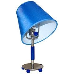 Blue Art Deco Vintage Chromed Metal Adjustable Table Lamp, 1930, Germany