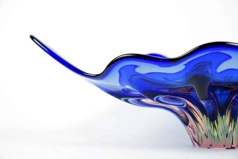 Blue Art Glass Bowl by Josef Hospodka for Chribska Glassmakers, 1960s For Sale 2