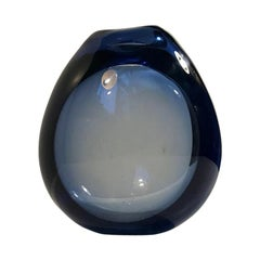 Blue Art Glass Vase 'The Waterdrop' by Per Lutken for Holmegaard, Denmark, 1960s