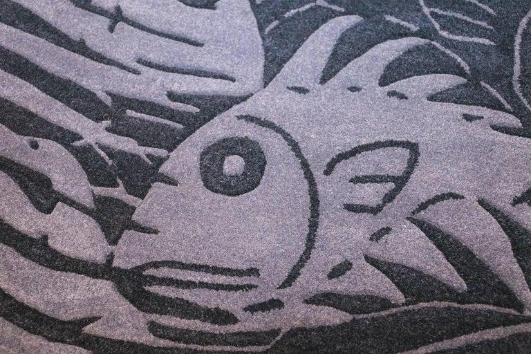Hand-Woven Blue Artistic Vintage Scandinavian Maurits Escher Fish Rug. Size: 5' 7
