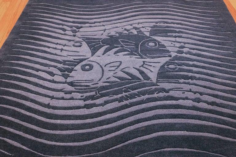 Wool Blue Artistic Vintage Scandinavian Maurits Escher Fish Rug. Size: 5' 7
