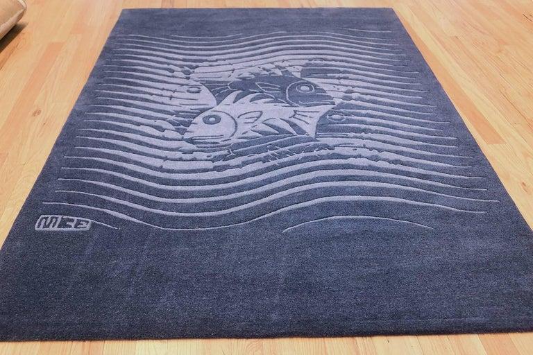 Blue Artistic Vintage Scandinavian Maurits Escher Fish Rug. Size: 5' 7