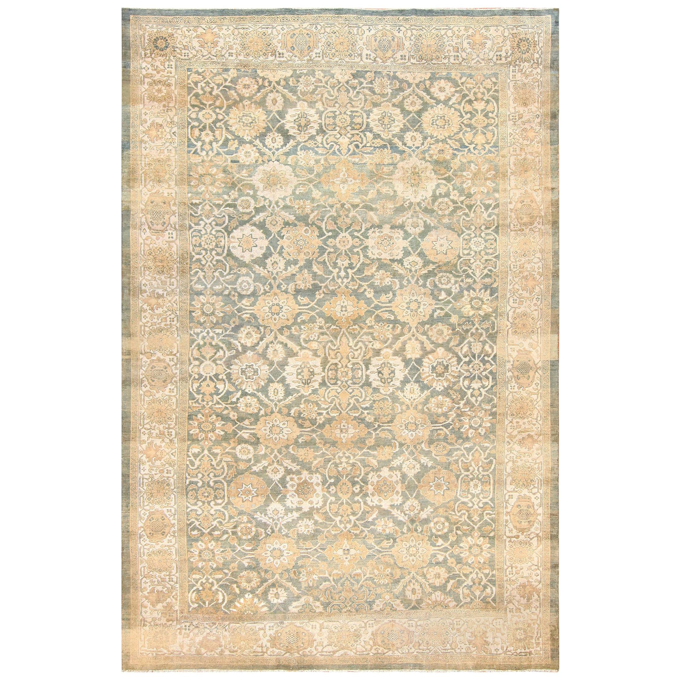 Blue Background Antique Persian Large Size Sultanabad Rug