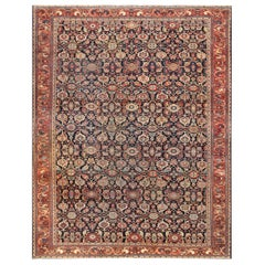 Blue Background Antique Sarouk Farahan Rug. Size: 10 ft 4 in x 13 ft 3 in