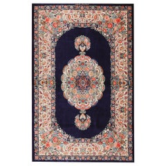 Blue Background Floral Vintage Persian Silk Qum Rug. 3 ft 4 in x 5 ft 2 in