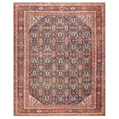 Blue Background Persian Antique Sultanabad Rug. Size: 11 ft x 13 ft 4 in