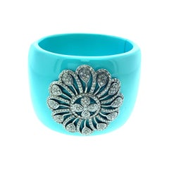 Blue Bakelite 3.75 Carat Diamond Bangle in Silver