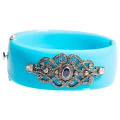 Blue Bakelite Cuff Bracelet with Diamonds and Sapphires