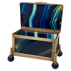 Hinged Blue Banded Agate Box within a Gilt Frame & Ball Feet