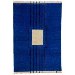 Disobedience - Geometric Blue Beige Black Striped Wool Silk Rug by Carpets CC