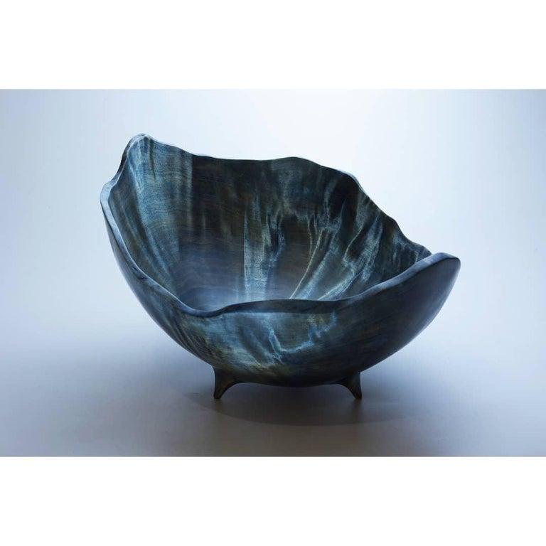 Bluebirch burl vase by Vlad Droz. Unique handmade piece signed by Vlad Droz Dimensions: 36-31 x 22-12 cm Materials: dyed birch burl wood  Vlad Droz