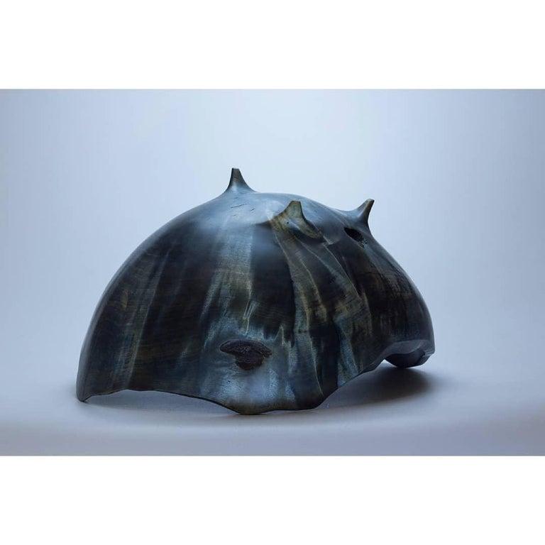 Russian Blue Birch Burl Vase by Vlad Droz For Sale