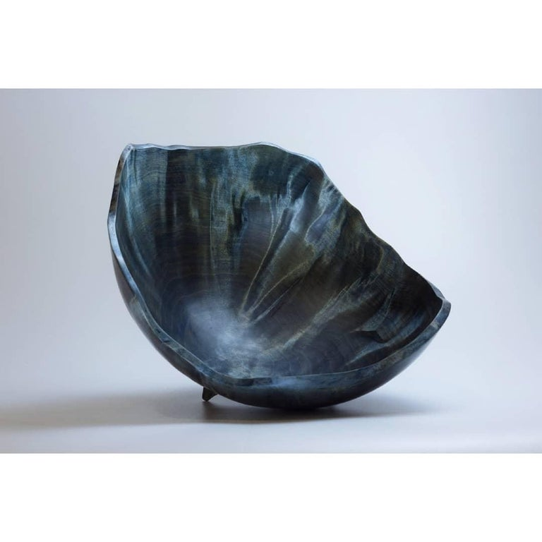 Blue Birch Burl Vase by Vlad Droz In New Condition For Sale In Geneve, CH