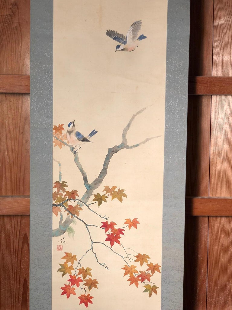 Blue Birds and Maples Japanese Antique Hand-Painted Silk Scroll, Meiji Period For Sale 6