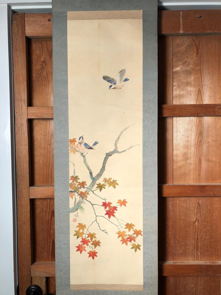 Taisho Blue Birds and Maples Japanese Antique Hand-Painted Silk Scroll, Meiji Period For Sale