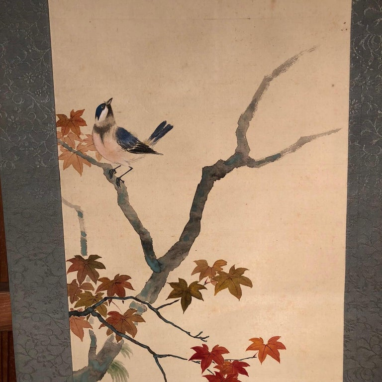 Blue Birds and Maples Japanese Antique Hand-Painted Silk Scroll, Meiji Period In Good Condition For Sale In Shelburne, VT