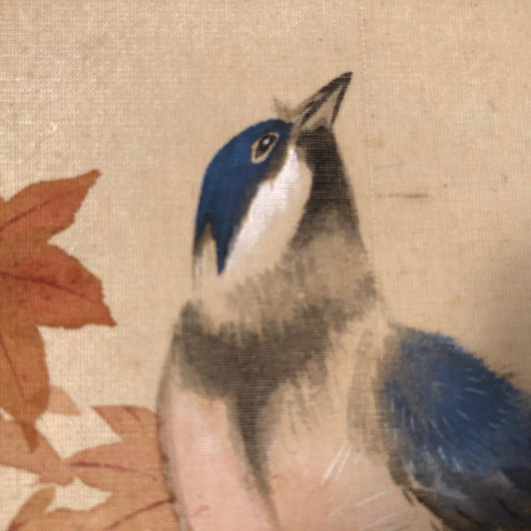20th Century Blue Birds and Maples Japanese Antique Hand-Painted Silk Scroll, Meiji Period For Sale