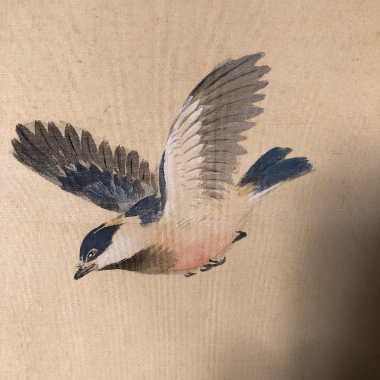 Blue Birds and Maples Japanese Antique Hand-Painted Silk Scroll, Meiji Period For Sale 1