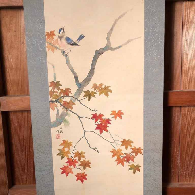 Blue Birds and Maples Japanese Antique Hand-Painted Silk Scroll, Meiji Period For Sale 3