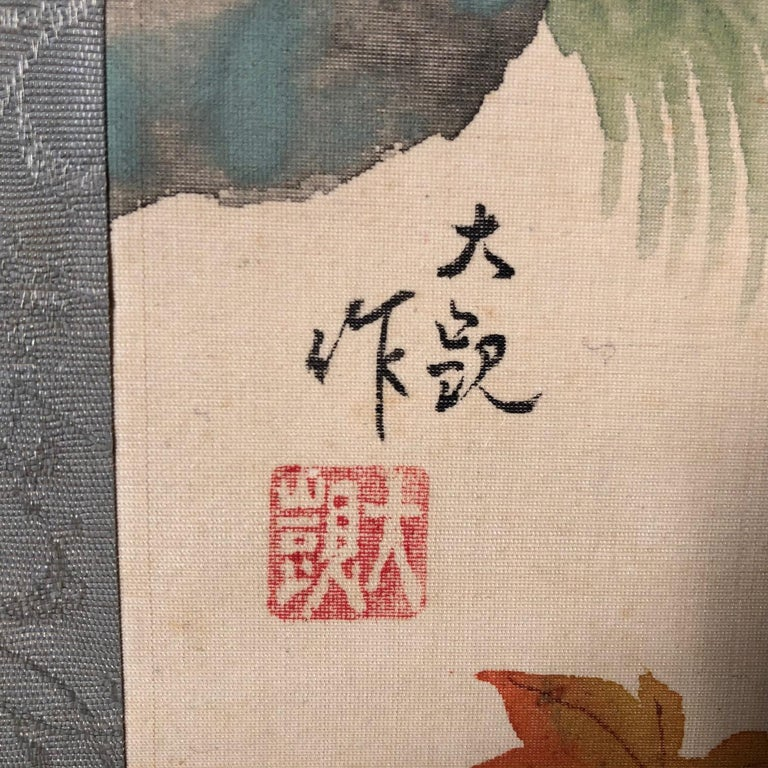 Blue Birds and Maples Japanese Antique Hand-Painted Silk Scroll, Meiji Period For Sale 4