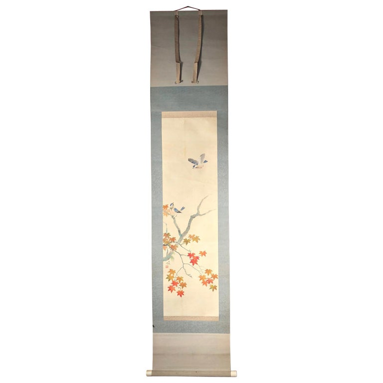 Blue Birds and Maples Japanese Antique Hand-Painted Silk Scroll, Meiji Period For Sale
