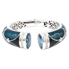 Blue Black Enameled, 25.07 Carat Blue Topaz, and Diamond 18K Gold Clamper Bangle
