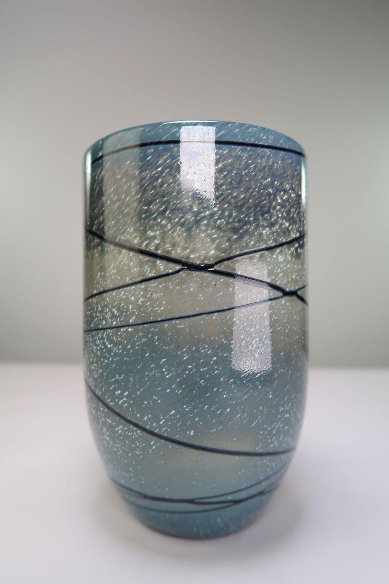 Extraordinary vintage Finnish modern crystal vase by designer Tuomo Heikkinen for Humppila Finland. Mould blown crystal glass. Blue and warm grey base with accents of white and light blue, black stripes and one red rectangular shaped figure on one