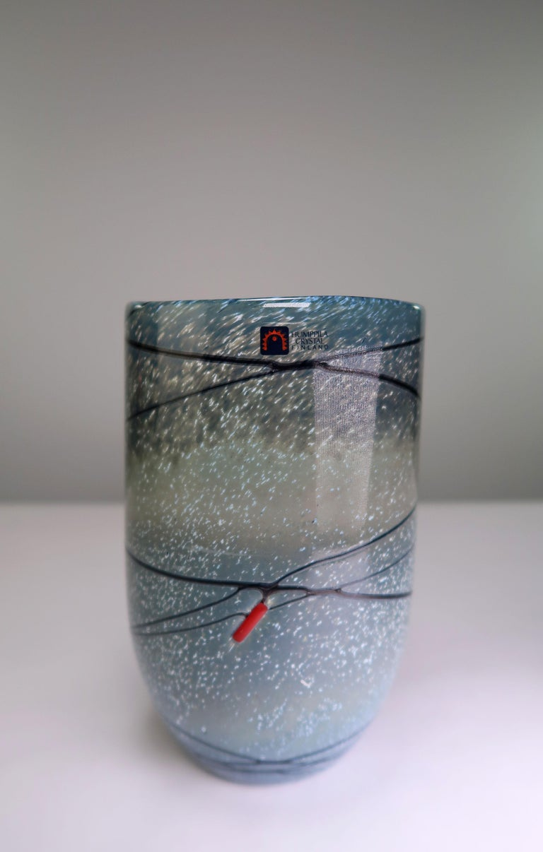 Mid-Century Modern Blue, Black, Grey Finnish Modern Crystal Vase by Humppila Finland, 1987 For Sale