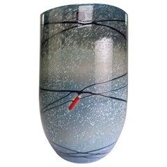 Blue, Black, Grey Finnish Modern Crystal Vase by Humppila Finland, 1987